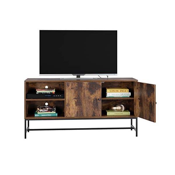 Homfa Meuble TV Étagère Rangement Table Basse de Salon Armoire Industriel Vintage Bois Métal 120x30x60.3cm