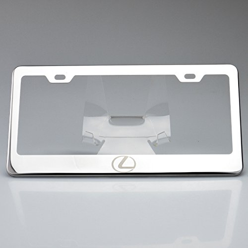 One Polish Lexus Logo Mirror Stainless Steel License Plate Frame Holder Front Or Rear Bracket Laser Engrave Steel Screw Cap