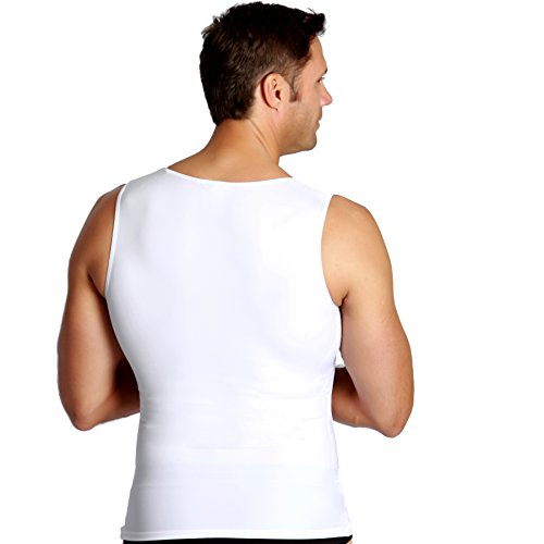 Insta Slim 3 Pack Muscle Tank, Look Up to 5 Inches Slimmer Instantly, White, Large, The Magic is in The Fabric! by Insta Slim (Image #2)