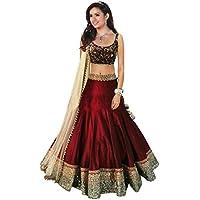 V-Art Women's Banglori Silk Lehenga Choli, Free Size (Maroon)