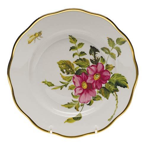 Yellow Rose Salad Plate - Herend American Wildflowers Prairie Rose Porcelain Salad Plate