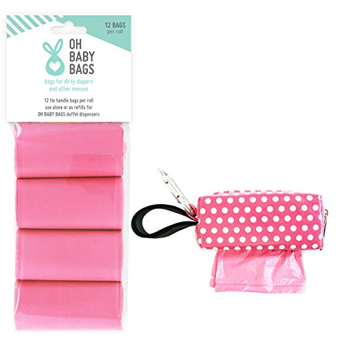 Oh Baby Bags Diaper Bag Clip-On Dispenser with Scented Disposable Bags for Dirty Diapers - Bags Made of Recycled Plastic - Pink Dot Duffle plus 108 Pink Citrus Scented Bags