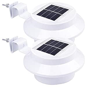 Yescom 2 Sets of Outdoor 3 LED Solar Power Gutter Light IP44 Cool White Yard GardenDoorway Lamp with Bracket