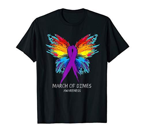 MARCH OF DIMES awareness Tee Shirt - butterfly T-Shirt