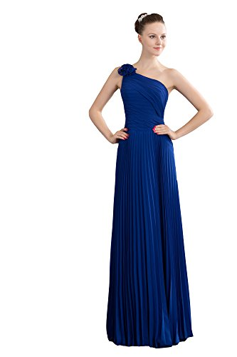 VogueZone009 Womens One Shoulder Crinkle Chiffon Pongee Formal Dress, ColorCards, 16 by VogueZone009