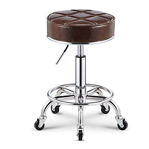 - Bar chair Beauty rotary anti-explosion chair cash register lift bar stool high stool foot stool sit high 50-64.5cm (Color : Brown)