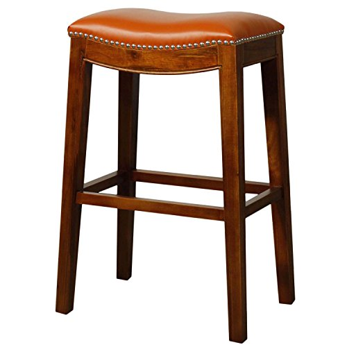 New Pacific Direct 358631B-8141 Elmo Bonded Leather Bar Stool Furniture Pumpkin
