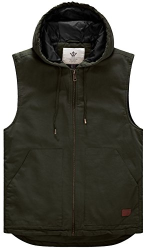 WenVen Men's Vintage Windbreaker Hooded Cotton Vest(Army Green,Small)