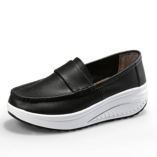 2016Verano sacudió sus zapatos/zapatos blancos de cuero de fondo grueso/Pendiente con los zapatos deportivos perezosos B