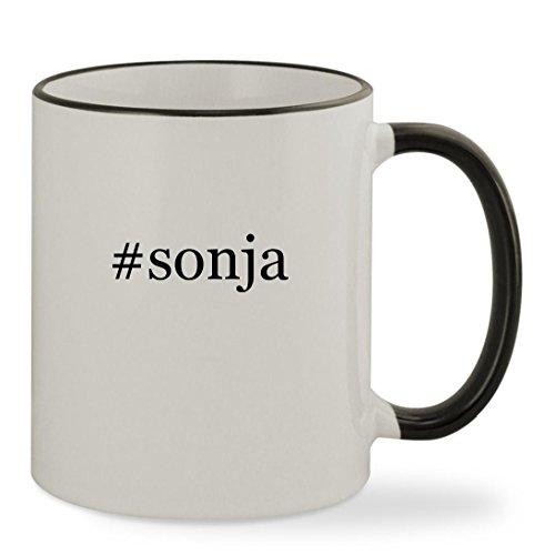 #sonja - 11oz Hashtag Colored Rim & Handle Sturdy Ceramic Coffee Cup Mug, Black