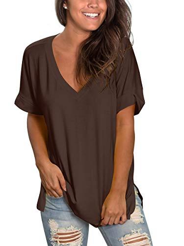SAMPEEL Womens Tunic Tops V Neck Shirts Plain Summer Casual Tees Dressy Brown XL