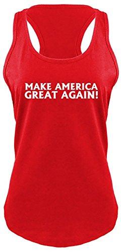 Comical Shirt Ladies Racerback Tank Make America Great Again T Shirt Donald Trump President Red XL -