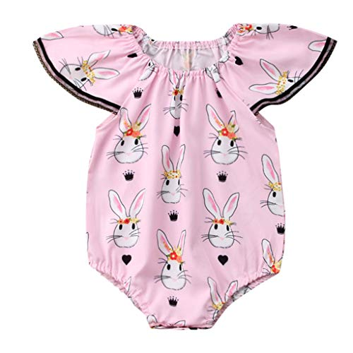 WOCACHI Toddler Baby Girls Clothes, Infant Baby Fly Sleeve Easter Day Rabbit Print Jumpsuit Romper Clothes Back to School Easter Egg Costume Parade Bunny Lily Eggs Roll Cushaw Basket ()