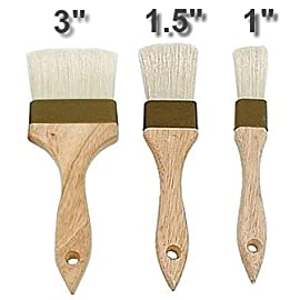 "3 COMMERCIAL PASTRY BRUSH SET 1 brown plastic ferrule brushes made with boar bristles 1"" flat pastry brush with 5 1/2"" handle"