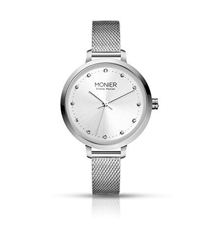 - Emelia Monier Crystal Icon Silver Tone Women's Watch with Stainless Steel Mesh Bracelet EML004-01SL