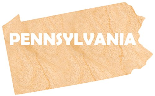 aMonogram Art Unlimited State Of Pennsylvania Wooden Shape With State Name and 1/4 Burch plywood Wall Decor, 18''