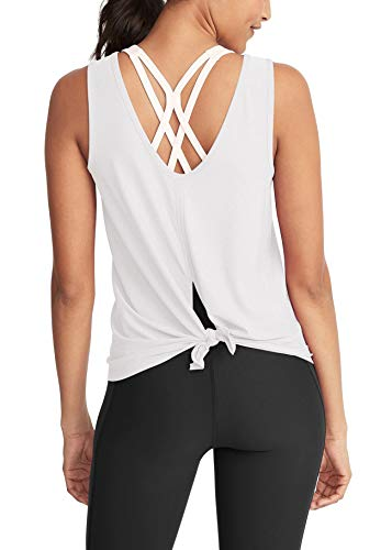 Bestisun Backless Yoga Shirts High Neck Gym Wear Twist Crop Tank Top Sports Ftiness Clothing for Women Lady Girls Beach Party Clothing for Dance Class White S