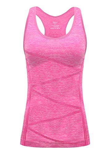 - DISBEST Yoga Tank Top, Women's Performance Stretchy Quick Dry Sports Workout Running Top Vest with Removable Pads (Neon Pink, Medium)