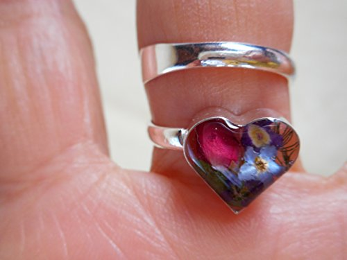(Silver 925 heart dried pressed flower ring multi-colors)
