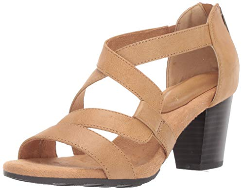 (Easy Street Women's Amuse Dress Casual Sandal with Back Zipper Sandal, Luggage, 8 N US)
