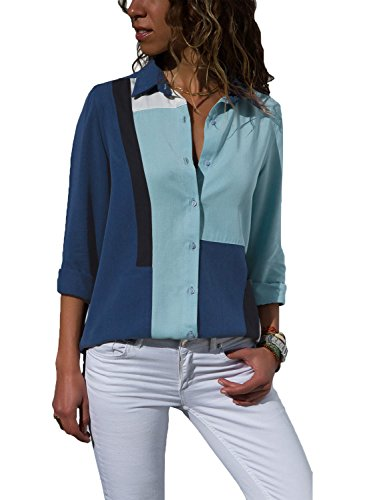 Astylish Women Loose Fit Long Sleeve Collared Color Block Tunic Blouse Tops Shirts Medium 8 10 Navy - Blouse Button Cuff Print