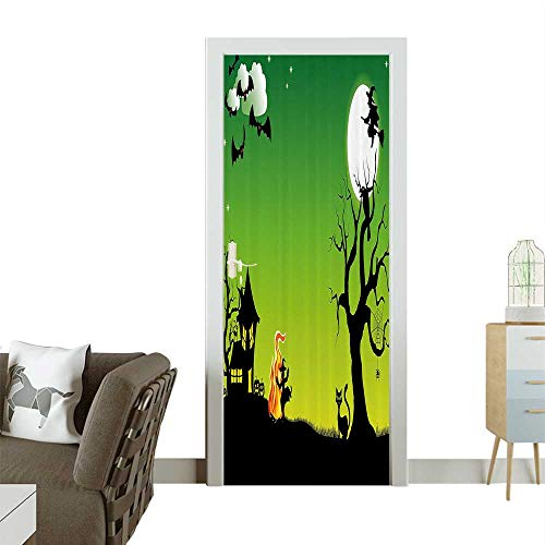 Door Sticker WallpaperWitch Dancing Around The Fire Halloween Ancient Western Horror Fashion and Various patternW30 x H80 INCH -