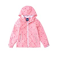 Hiheart Girls Lightweight Hooded Jackets Mesh Lined Waterproof Raincoat Pink 3/4