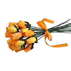 Orchid & Ivy 24 Beautiful Realistic Wooden Roses - Artificial Flowers - Orange Sunset - Gift Boxed 86