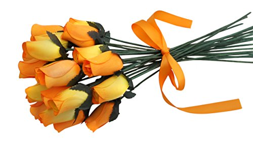 Orchid & Ivy 24 Beautiful Realistic Wooden Roses - Artificial Flowers - Orange Sunset - Gift Boxed