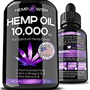 Hemp Oil 10000 MG for Pain Relief - Natural Hemp Seed Oil - Grown & Made in USA - Increased Efficiency for Anxiety & Stress Management - Anti-Inflammatory & Joint Support - Omega 3, 6 & 9