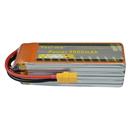 Youme 22.2v 6S Lipo Battery 5000mah XT90 50C for RC Quadcopter Airplane Helicopter Car Truck 500 600 Helicopter by Youme Power
