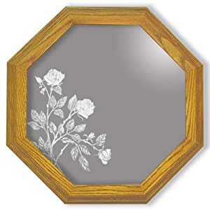 "Decorative Framed Mirror Wall Decor With Rose Flower Etched Mirror - Rose Flower Decor - Unique Rose Flower Gift Ideas - Ready To Hang - 20"" octagon"