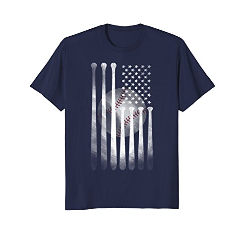 Mens American Flag Vintage Baseball Flag T-Shirt, Dad, Mom, Kid T Large Navy
