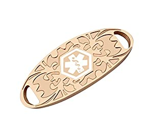 Bracelet ID Tags - Rose Gold Medical Alert ID Identification Tags for Custom Engraved Bracelets