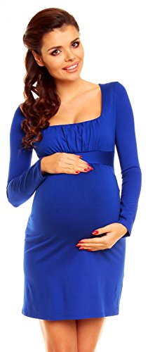 Zeta Ville - De Las Mujeres Maternidad Imperio Cintura Acanalada Cuello Tramo Vestido - 931C (Real Azul, 14)