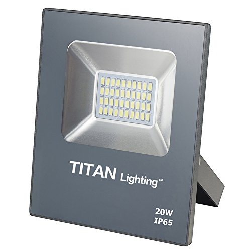 Titan Lighting Gray Frameless 20W Led Flood Lights, 100W Halogen/CFL Replacement, 1700LM, 6000K Day Light, Waterproof, 120-277V, Instant on