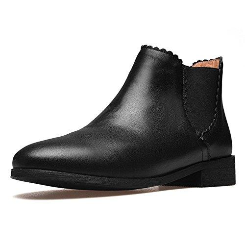 Toe Low Seven Leather Chelsea Casual Round Handmade Classy Women's Booties Heel Genuine Nine Black xdqXYFHH