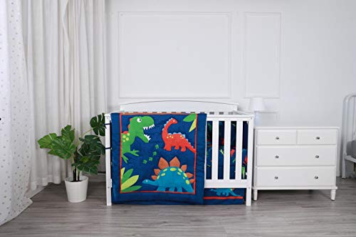 Linens And More Modern Luxury Quality 4 Piece Crib Bedding Sets for Girls and Boys, Set Includes, Fitted Sheet, Crib Bumper, Crib Skirt and Reversible Quilt (Dinosaur)
