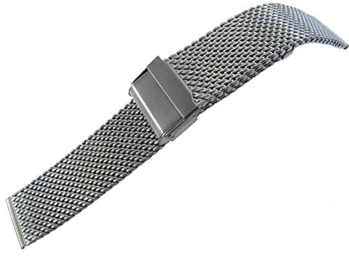 JRRS7777 Men's Watch Band 22mm Stainless Steel Mesh Bracelet Titanium 1.0X22ST ()
