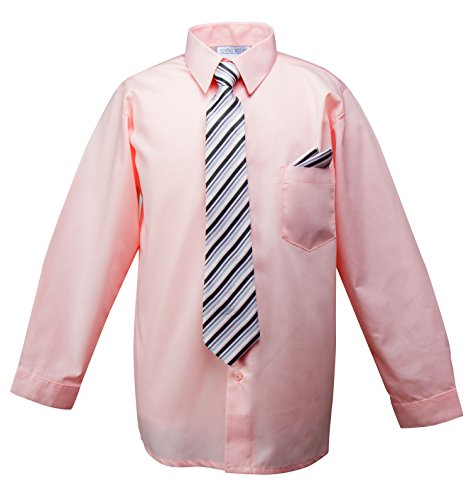 Spring Notion Baby Boys' Dress Shirt with Tie and Handkerchief Set 12M Pink