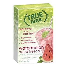 NEW FLAVOR: True Lime | WATERMELON AUQUA FRESCA (Pack of 3) 10ct each box. True Lemon | True Citrus NON GMO and NO GLUTEN 3 NEW FLAVOR: Includes 3 boxes WATERMELON AQUA FRESCA Limeade (10ct each) Naturally Sweetened with Stevia All Natural Ingredients