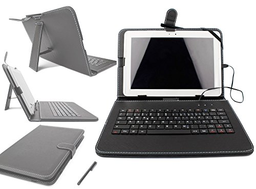 DURAGADGET Faux Leather Case Cover With Micro USB German Keyboard & Built In Stand For Samsung Galaxy Tab 3 10.1 3G GT-P5200 Wi-Fi White / Gold Brown, Samsung Galaxy Tab 2 10.1 P5100 (WiFi), Samsung Galaxy Tab 10.1N P7501 / P7511, Samsung Galaxy Tab 2 10.1 GT-P5110 Tablet (16GB, Android 4.0) & Samsung Galaxy Tab 2 P5100
