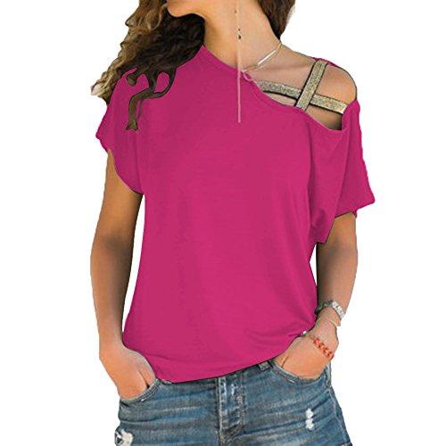 Forti Scoperte Monospalla Maglietta Tinta Tumblr Pullover Donna Elegante Estivo Irregolare Manica Estive T Maglietta Unita Taglie Top Corta Camicetta Sweatshirt BienBien Rosa Spalle Moda Shirt Bluse 06nUqnBO