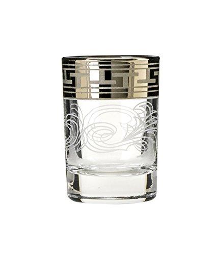 - Crystal Goose GX-01-837, 2 Oz Shot Glasses with Greek Key Golden Rim, Vintage Vodka Liquor Glasses, Wedding Drinkware, Gift Box Set of 6