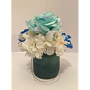 BLUE ROSES AND GERBER DAISIES WITH WHITE RHODODENDRON IN A BLUE GLASS VASE 6