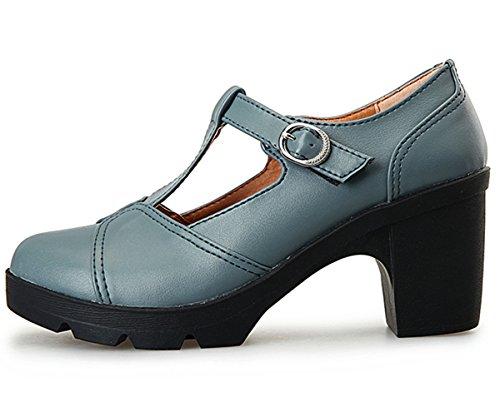 72d50b78d28 DADAWEN Women s Classic T-Strap Platform Mid-Heel Square Toe Oxfords Dress  Shoes