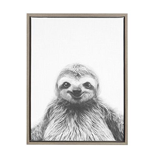 Kate and Laurel - Sylvie Animal Print Sloth Black and White Portrait Framed Canvas Wall Art by Simon Te Tai, Gray 18x24