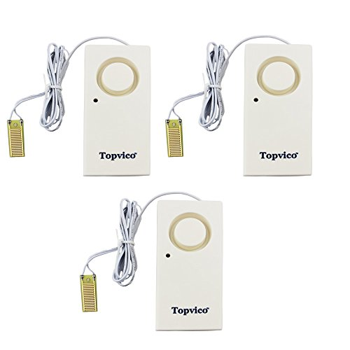 Topvico Flood Alarm Water Leak Sensor Detector 130dB Work Alone Home Security 3 Pack