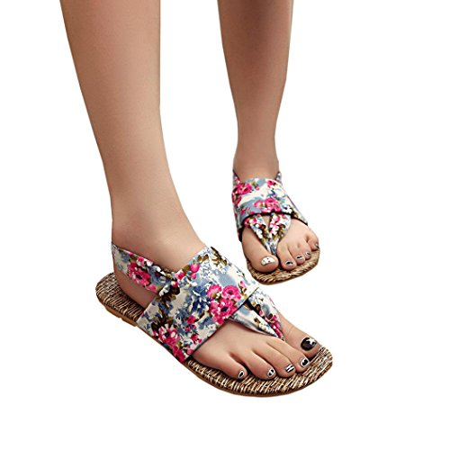 Elevin(TM)Women Summer Fashion Beach Floral Peep-toe Flat Flip Flops Slipper Sandal Shoes Blue 9izX4