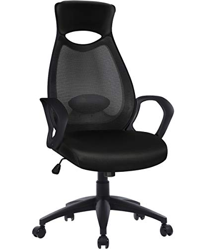 Furious Office Chair, High Back Mesh Office Computer Swivel Desk Task Chair, Ergonomic Executive Chair with Armrests, Lumbar Support and Rollerblade Wheels Black (Chairs Tables And Computer)